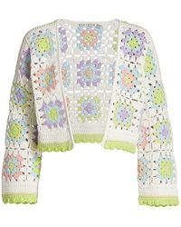 Alice + Olivia Anderson Boxy Cropped Crochet Cardigan - Multicolor
