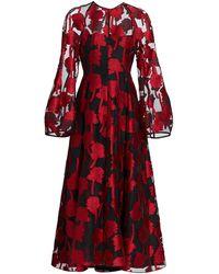 Lela Rose Rose Fil-coup Midi Dress - Red