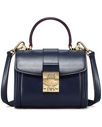 MCM Small Tracy Leather & Suede Satchel - Blue
