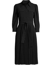 Elie Tahari Ere 3/4-sleeve Pleated Skirt Shirtdress - Black