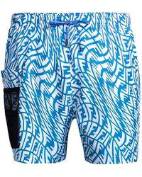 Fendi Vertigo Print Swim Trunks - Blue