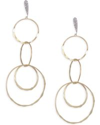 Meira T - Diamond, 14k Yellow & White Gold Drop Earrings - Yellow Gold - Lyst