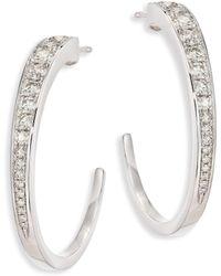"""Hearts On Fire - Triplicity Diamond & 18k White Gold Hoop Earrings/0.75"""" - Lyst"""