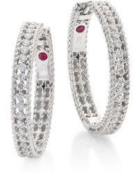 Roberto Coin - Symphony Diamond & 18k White Gold Hoop Earrings/0.75 - Lyst