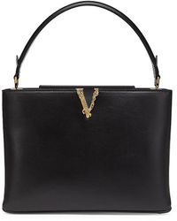 Versace - Small Virtus Leather Tote - Lyst