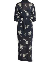 Chloé Floral Mockneck Knit Midi Dress - Blue