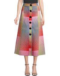 Saloni Charlotte Printed A-line Midi Skirt - Red