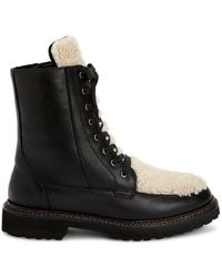 Aquatalia Marlee Shearling-trimmed Leather Combat Boots - Black