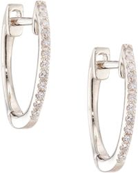 EF Collection - Diamond & 14k White Gold Huggie Earrings/0.5 - Lyst