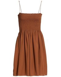 Theory Smocked Bustier Dress - Brown