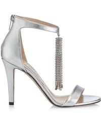 Jimmy Choo Viola Crystal-tassel Metallic Leather Sandals