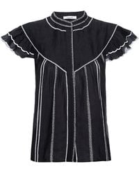 FRAME Embroidered Ruffle Ramie Blouse - Black
