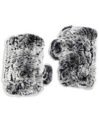 Surell Rabbit Fur Texting Gloves - Gray