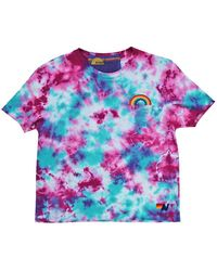 Aviator Nation Rainbow Embroidered Tie-dye T-shirt - Multicolor
