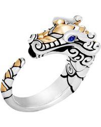 John Hardy - Legends Naga 18k Yellow Gold, Sterling Silver & Blue Sapphire Dragon Ring - Lyst
