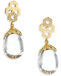 Temple St. Clair - 18k Gold & Diamond Pave Beehive Amulet Earrings - Lyst