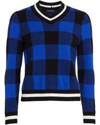 Rag & Bone Gabby Plaid V-neck Sweater - Blue