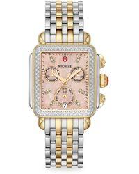 Michele Signature Deco Two-tone Diamond Watch - Metallic