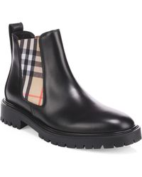 Burberry - Vintage Check Detail Leather Chelsea Boots - Lyst