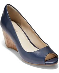 Cole Haan - Sadie Open Toe Wedge 65mm (nude Patent) Women's Wedge Shoes - Lyst
