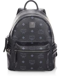 MCM - Stark Side Stud Mini Coated Canvas Backpack - Lyst