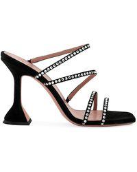 AMINA MUADDI Naima Crystal-embellished Leather Mules - Black