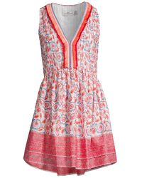 Vineyard Vines Frangipani Floral Pintuck Dress - Red