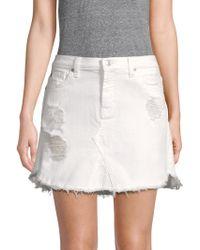 7 For All Mankind - Distressed Denim Mini Skirt - Lyst