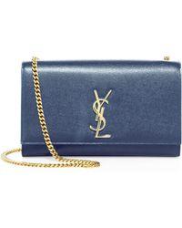 0dce85092a2 Saint Laurent - Women s Medium Kate Monogram Leather Chain Shoulder Bag -  Dark Tea - Lyst