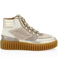 Voile Blanche Eva Shearling & Metallic Leather Hiking Boots - Multicolor