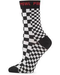 Proenza Schouler Checkerboard Crew Socks - Black