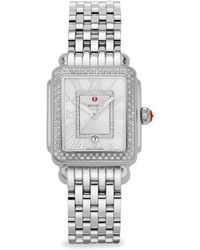 Michele Watches - Deco Madison Mid Stainless-steel Diamond Bracelet Watch - Lyst