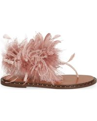 Valentino - Feather-embellished Suede Thong Sandals - Lyst