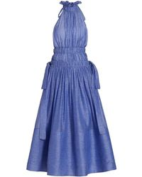 Zimmermann Wild Botanica Luminous Ruffle Halter Gown - Blue