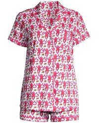 Roberta Roller Rabbit Monkey Print 2-piece Pajama Set - Pink