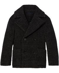 Proenza Schouler Plaid Wool Short Double Breasted Coat - Black