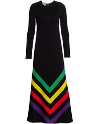 Gucci Chevron-striped Silk-blend Jersey Gown - Black