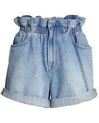 FRAME Paperbag Denim Shorts - Blue