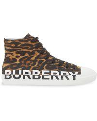 Burberry Logo & Leopard Print High-top Sneakers - Brown
