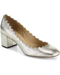 Chloé - Lauren Metallic Leather Block Heel Pumps - Lyst