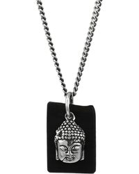 King Baby Studio - Sterling Silver & Leather Meditating Buddha Pendant Necklace - Silver Black - Lyst