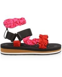 MIDNIGHT 00 Ruched Colorblock Satin Sport Sandals - Red