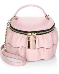 MILLY - Astor Ruffle Zip-top Leather Crossbody Bag - Lyst