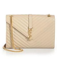 2e956b4525 Saint Laurent - Large Monogram Matelasse Leather Chain Shoulder Bag - Lyst