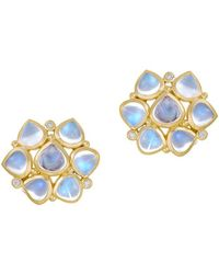 Temple St. Clair Royal Blue Moonstone, Diamond & 18k Yellow Gold Cluster Earrings