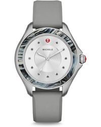 Michele Watches - Cape Mist Topaz, Stainless Steel & Silicone Strap Watch - Lyst