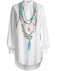 Stella Jean Painted Beaded Tunic - White