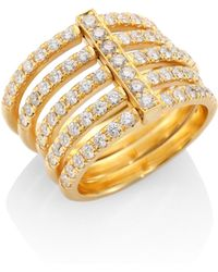 Carelle - Moderne Pavé Diamond & 18k Yellow Gold Penta Midi Ring - Lyst