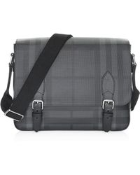 Burberry - Men s Medium Hendley Tartan Messenger Bag - Charcoal - Lyst c276880cc4f11