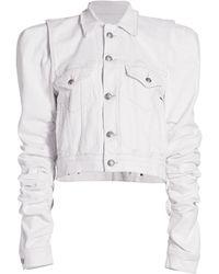 R13 Kelsey Shirred Denim Jacket - White